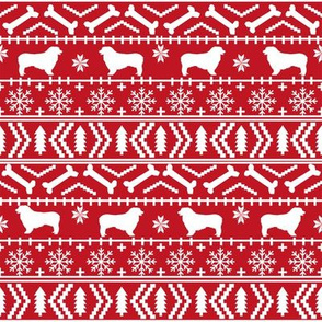Australian Shepherd fair isle christmas dog fabric pattern red