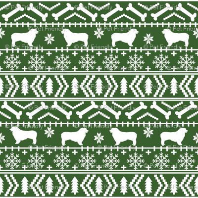 Australian Shepherd fair isle christmas dog fabric pattern medium ...