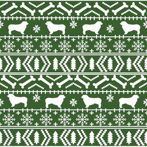 Australian Shepherd fair isle christmas dog fabric pattern medium green