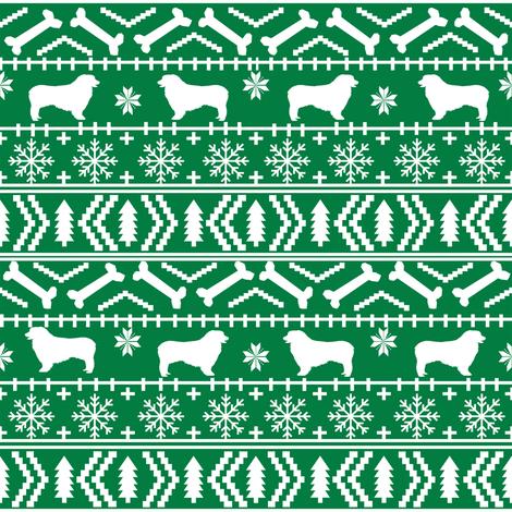 Australian Shepherd fair isle christmas dog fabric pattern green fabric by petfriendly on Spoonflower - custom fabric