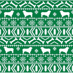 Australian Shepherd fair isle christmas dog fabric pattern green