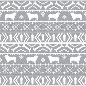 Australian Shepherd fair isle christmas dog fabric pattern grey