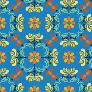 Folk Art Chrysanthemums on Blue