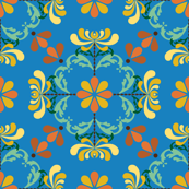 Folk Art Chrysanthemums on Blue