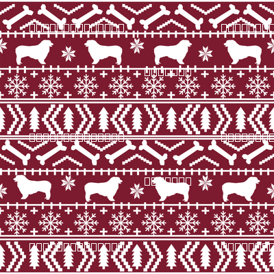 Australian Shepherd fair isle christmas dog fabric pattern maroon