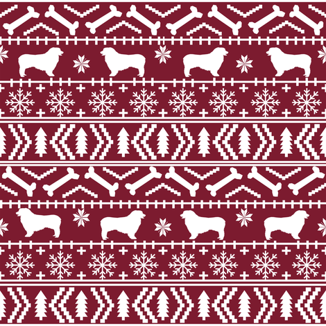 Australian Shepherd fair isle christmas dog fabric pattern maroon fabric by petfriendly on Spoonflower - custom fabric