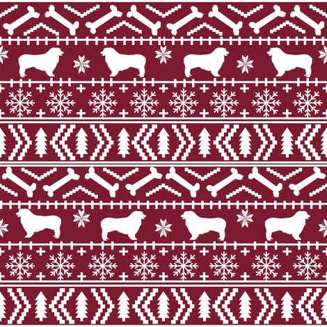 Australian Shepherd fair isle christmas dog fabric pattern maroon fabric by petfriendly on Spoonflower - custom fabric