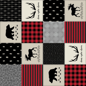 Woodland Quilt Top ROTATED - Bear Moose + Antler Wholecloth Baby Boy Blanket Panel - Black, Red + Cream Design- Ginger Lous