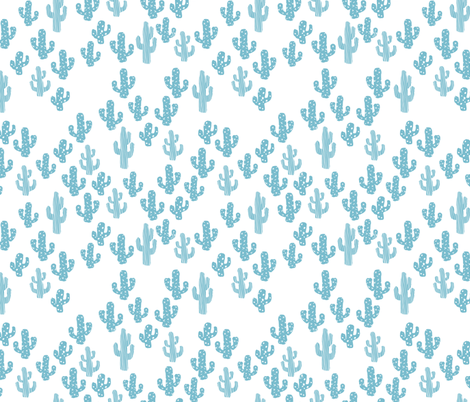 Blue cactus raw summer garden botanical cacti design fabric by littlesmilemakers on Spoonflower - custom fabric