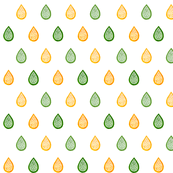 Green and yellow raindrops
