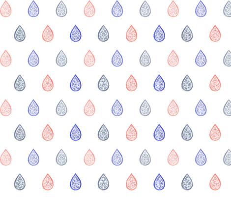 Rose quartz, lilac grey & serenity blue raindrops fabric by savousépate on Spoonflower - custom fabric