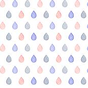Rose quartz, lilac grey & serenity blue raindrops