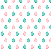 Coral pink and aqua blue raindrops