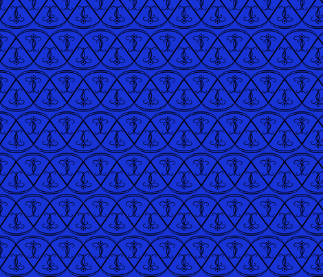 black_on_blue_scallops fabric by gothiccolour on Spoonflower - custom fabric