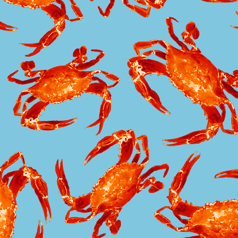 Cooked Crabs on Blue fabric by lauriekentdesigns on Spoonflower - custom fabric