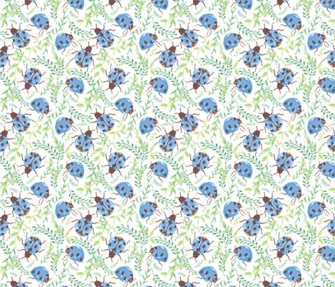 wild garden rain ladybugs fabric by margiecampbellsamuels on Spoonflower - custom fabric