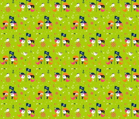 Räuberkinder`s_Boy and Girl_bright green fabric by räuberkinder on Spoonflower - custom fabric