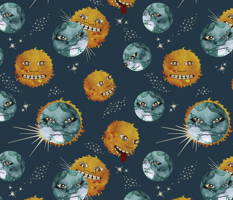 Total Eclipse of the Goof fabric by bowerbirdhouse on Spoonflower - custom fabric