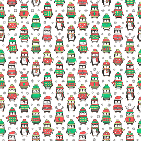 Christmas Holiday Winter Penguins in Ugly Sweaters Scarves & Hats On White Smaller  Tiny 1 inch fabric by caja_design on Spoonflower - custom fabric