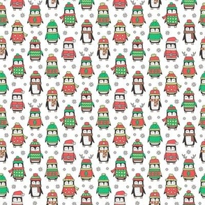 Christmas Holiday Winter Penguins in Ugly Sweaters Scarves & Hats On White Smaller  Tiny 1 inch