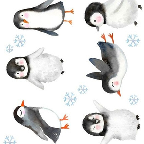 Large Rotated // Winter Penguins // White