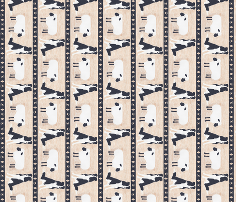 Primitive Border Collie and sheep border - small length fabric by rusticcorgi on Spoonflower - custom fabric