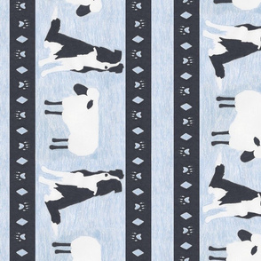 Primitive Border Collie and sheep border - slate blue extra wide length