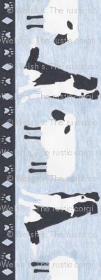 Primitive Border Collie and sheep border - slate blue small length