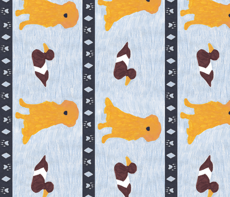 Primitive Golden Retriever and duck decoy - slate blue large border length fabric by rusticcorgi on Spoonflower - custom fabric