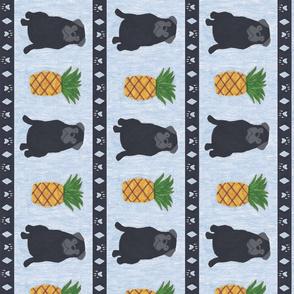 Primitive Pug and pineapple - slate blue large border length black