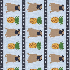 Primitive Pug and pineapple - slate blue large border length