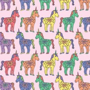 Rainbow Unicorns on Pink