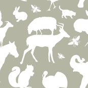 Farm and Woodland Animals White on Gray