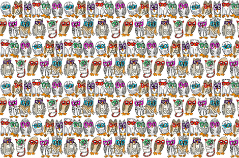 10 Owls and a Friend Wait for the Eclipse to Begin fabric by krussimages on Spoonflower - custom fabric