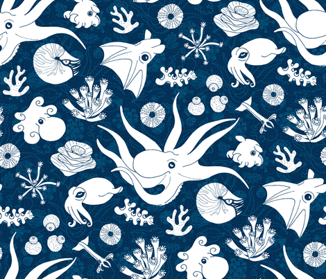 Cephalopods: Bg Blue fabric by mia_valdez on Spoonflower - custom fabric