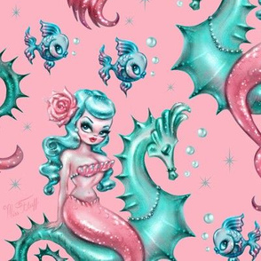 Mysterious Mermaid on Pink- MEDIUM