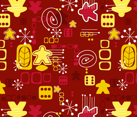 Atomic Meeple (Burgundy & Gold) fabric by melpoemene on Spoonflower - custom fabric