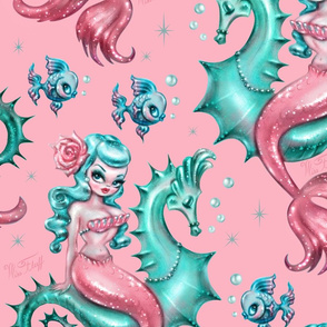 Mysterious Mermaid on Pink- LARGE