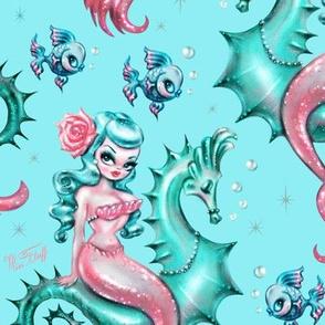 Mysterious Mermaid on Blue- MEDIUM