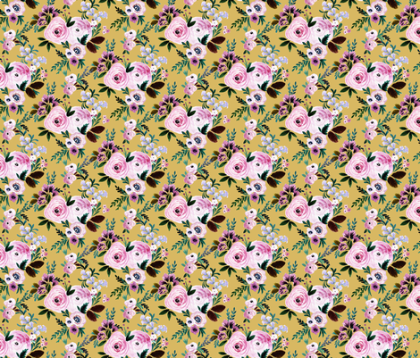 Victoria Floral M - mustard fabric by crystal_walen on Spoonflower - custom fabric