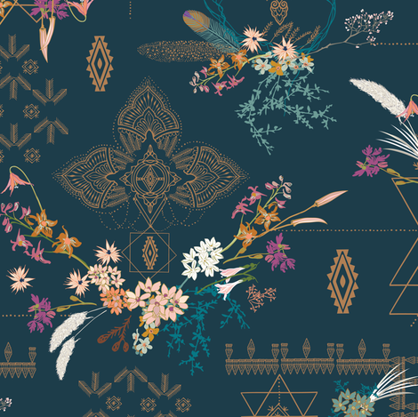 Sheba Hanging Garden SMALL (teal)  fabric by nouveau_bohemian on Spoonflower - custom fabric