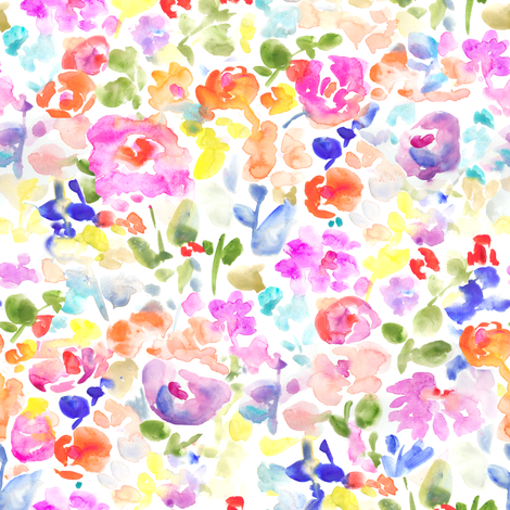 Abstract Watercolor Flower Field fabric by angiemakes on Spoonflower - custom fabric
