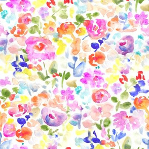 Abstract Watercolor Flower Field