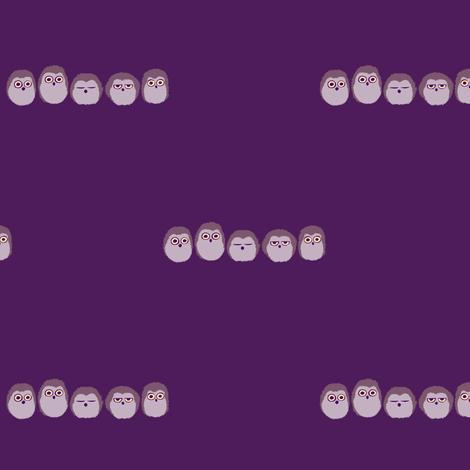 Owlet Puff - Purple fabric by siya on Spoonflower - custom fabric