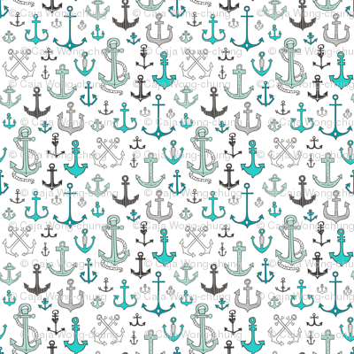 Anchors in Mint Green Smaller Tiny 1 inch