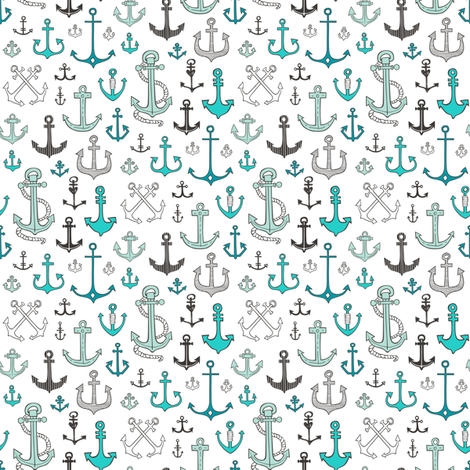 Anchors in Mint Green Smaller Tiny 1 inch fabric by caja_design on Spoonflower - custom fabric