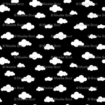 Sleep dreamy night my baby - Black and white clouds MEDIUM