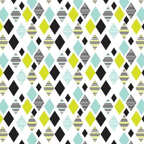 Aztec mint blue lime green yellow black and white geometric diamond fabric SMALL