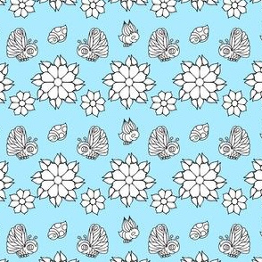 Bug and Butterfly Pattern on Blue