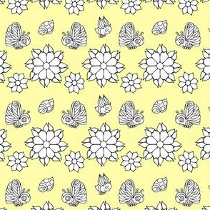 Bug and Butterfly Pattern on Yellow